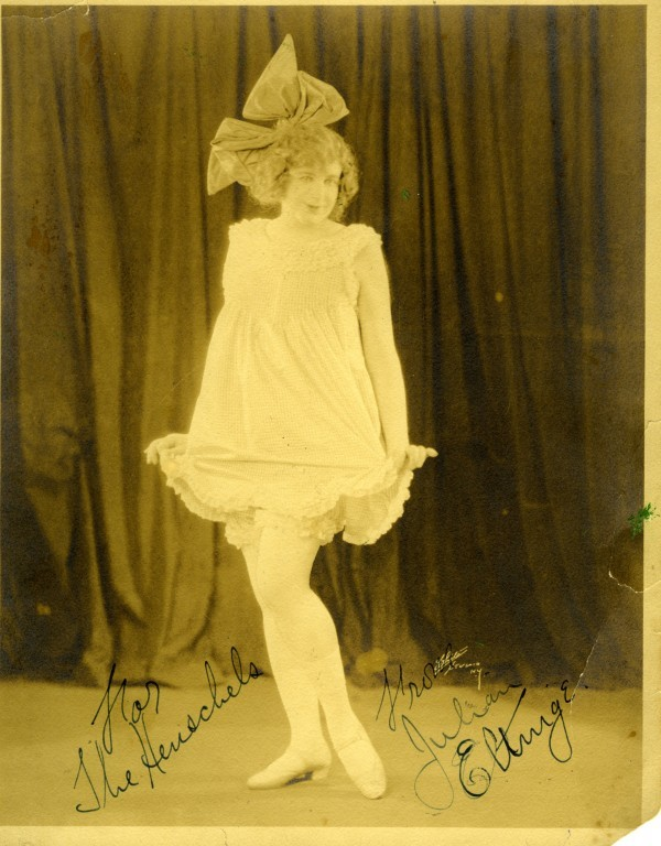 autographed photo of actor and female impersonator Julian Eltinge to the Henschels