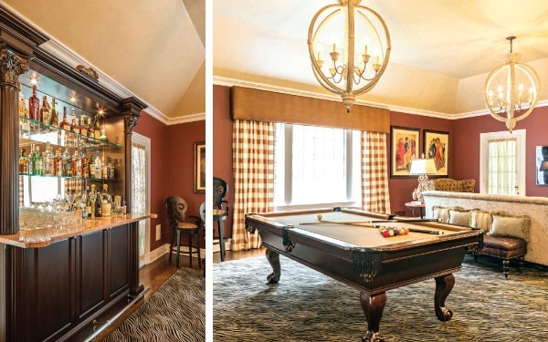 The rich stained wood used in the pool table and seating is decidedly masculine, reinforced by the gingham curtains.