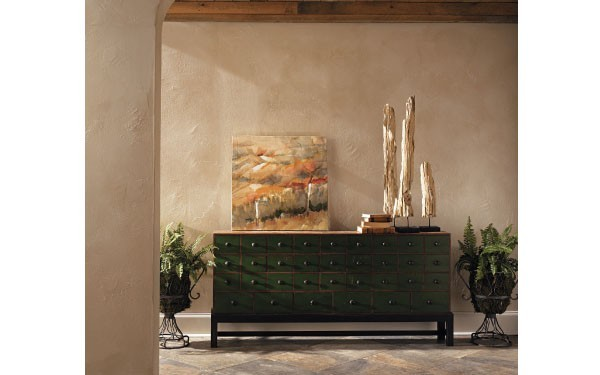 A special technique used with paint mimics a wide range of textures adding drama to a space without the commitment of wallpaper.