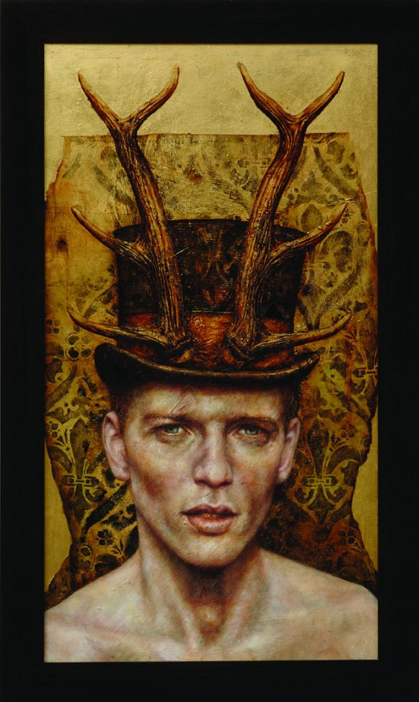 Hunted- pam hawkes- 40 x 23 Oil, beeswax and metal leaf on Board_copy
