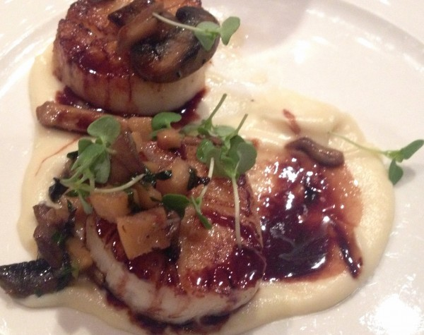 Delmonico's Seared Diver Scallops with Apple Cider Glaze, Parsnip, Mushroom and Pomegranate.