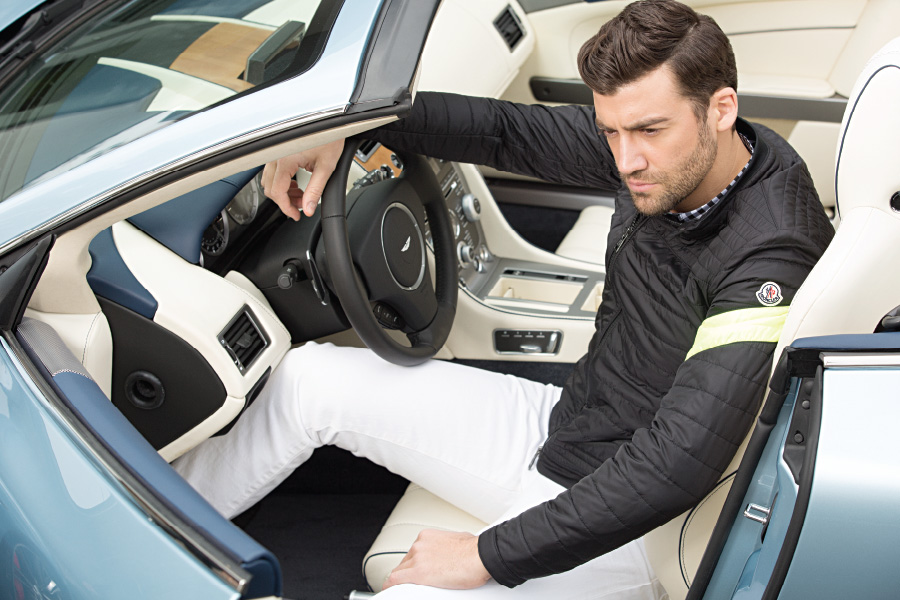 Moncler Roi Giubbotto jacket  Burberry Brit cotton button down  Polo Ralph Lauren Varick slim straight jeans  All at Bloomingdale's Aston Martin DB9 Volante.  Hand-crafted in England.  Powered by a 510 HP 6 liter V12.  The ultimate blend of performance and luxury.