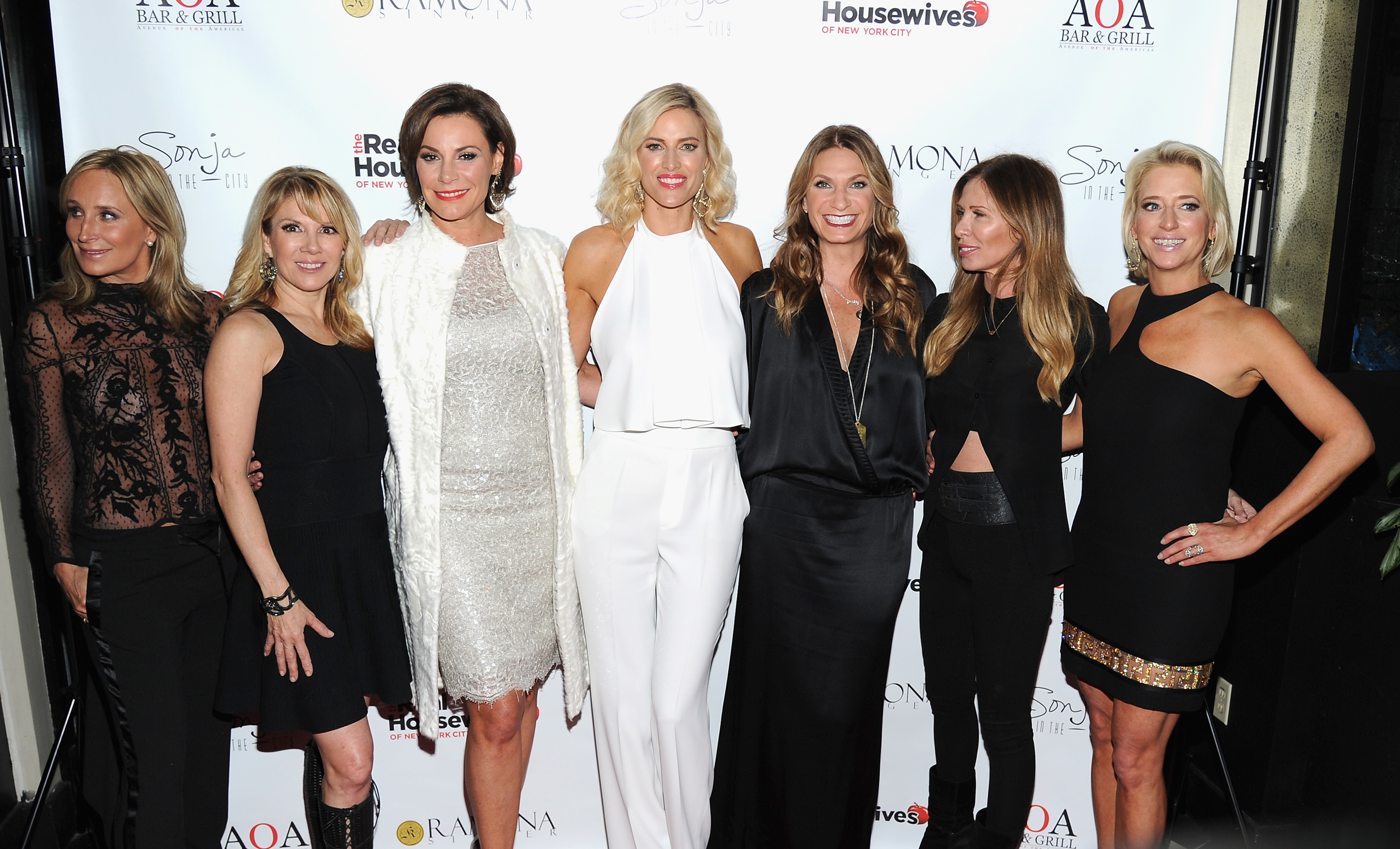 "(L-R) Sonja Morgan, Ramona Singer, Luann De Lesseps, Kristen Taekman, Heather Thomson, Carole Radziwill and Dorinda Medley attend the ""Real Housewives of New York City"" season 7 series viewing party at AOA Bar & Grill on April 7, 2015 in New York City.  Image  Andrew Toth/Getty Images"