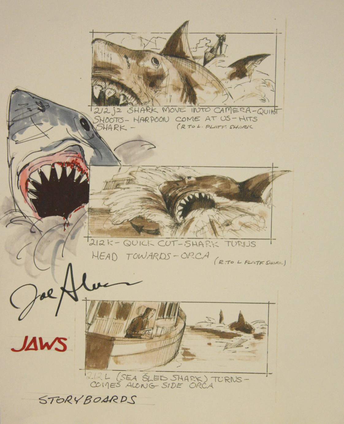 image: joe alves storyboards from jaws