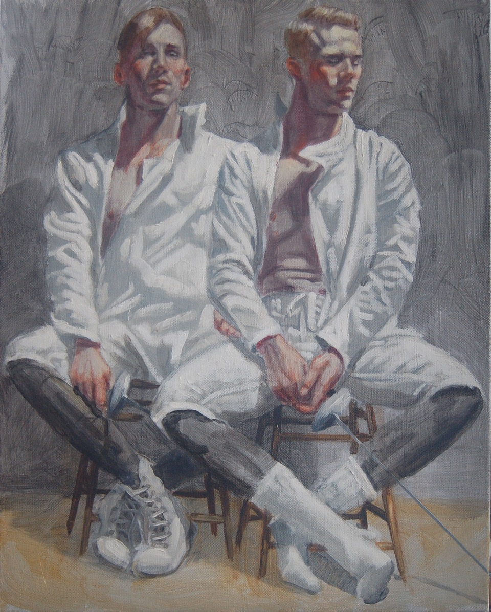 Fencers by Bruce Seargant (Oil on canvas)