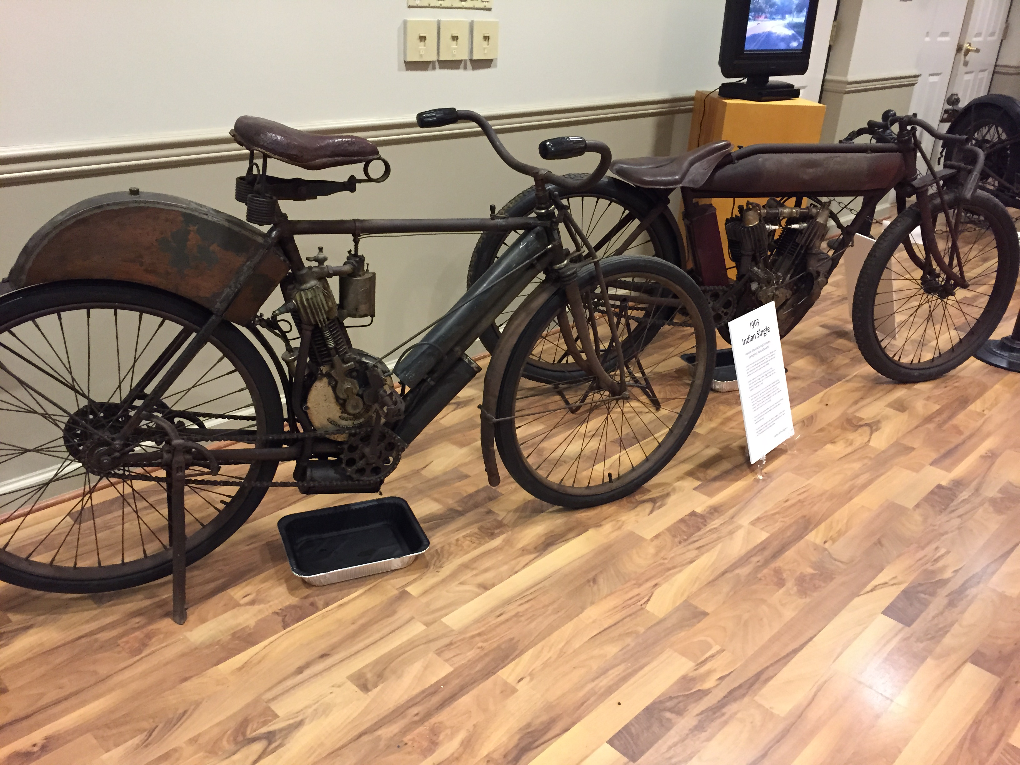 An unrestored 1903 Indian and a 1912 Indian TT Racer are two of the oldest bikes on display