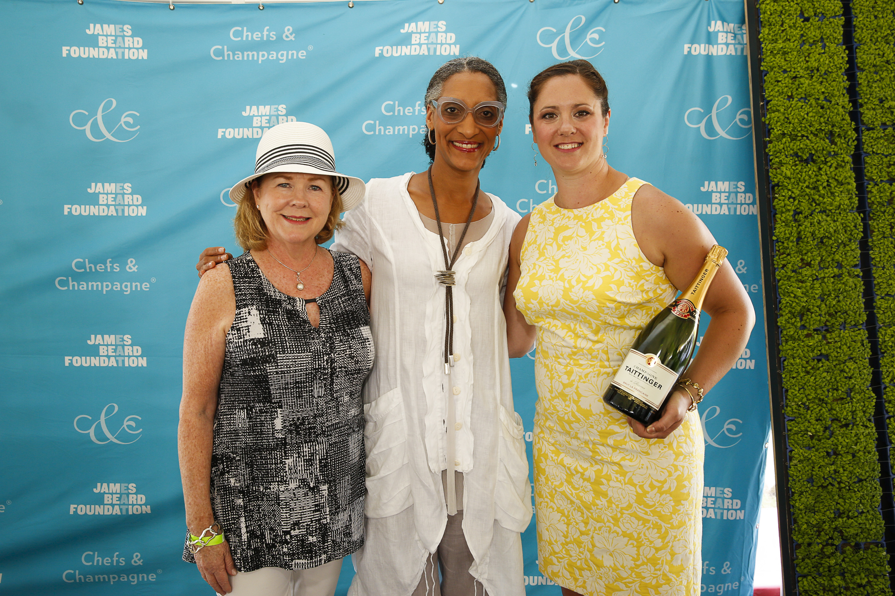 President of the James Beard Foundation Susan Ungaro, Honoree Chef Carla Hall and Wine Director of Aureole, Carrie Lyn Strong seen at James Beard Foundation's Chefs & Champagne at Wolffer Estate on Saturday, July 25, 2015 in Sagaponack, N.Y. (credit: mark von holden/invision for james beard foundation/ap Images)