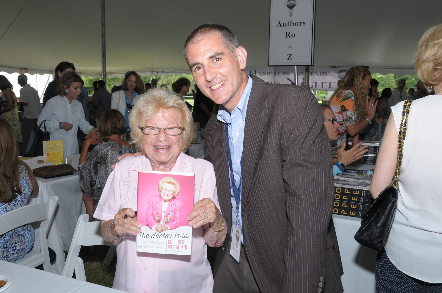 Dr. Ruth Westheimer and East Hampton Library Director Dennis Fabiszak (credit: richard lewin photography)