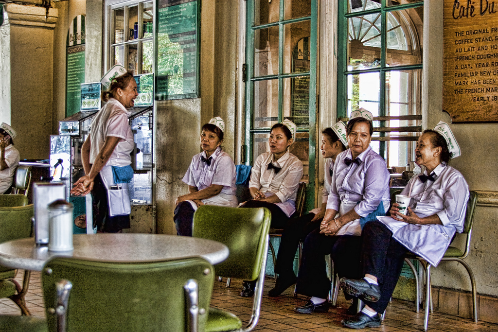 Staff at Cafe Du Monde taking a break during an unusually slow time. image: flickr creative commons/Swampier