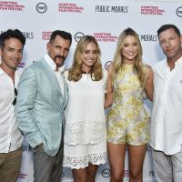 Public Morals castmates Aaron Lubin, Wass Stevens, Elizabeth Masucci, Katrina Bowden, and creator, producer and star Edward Burns attend a private screening for the show debuting Aug. 25. image: eugene gologursky/getty images for hamptons international film festival.