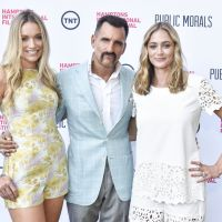 Stars of Public Morals Katrina Bowden, Wass Stevens and Elizabeth Masucci attend a private screening at the Maidstone image: eugene gologursky/getty images for hamptons international film festival.