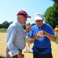 Artist team captain Leif Hope conferring with Jack Graves, reporter from the East Hampton Star (credit: alison milano).