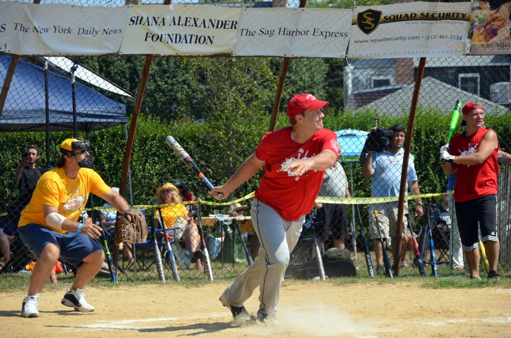 Writer Richard Weise, host ABC's Born to Explore, takes his turn at bat (credit: alison milano).