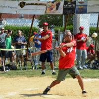 Famed New York sports writer, TV personality and author Mike Lupica at bat (credit: alison milano)