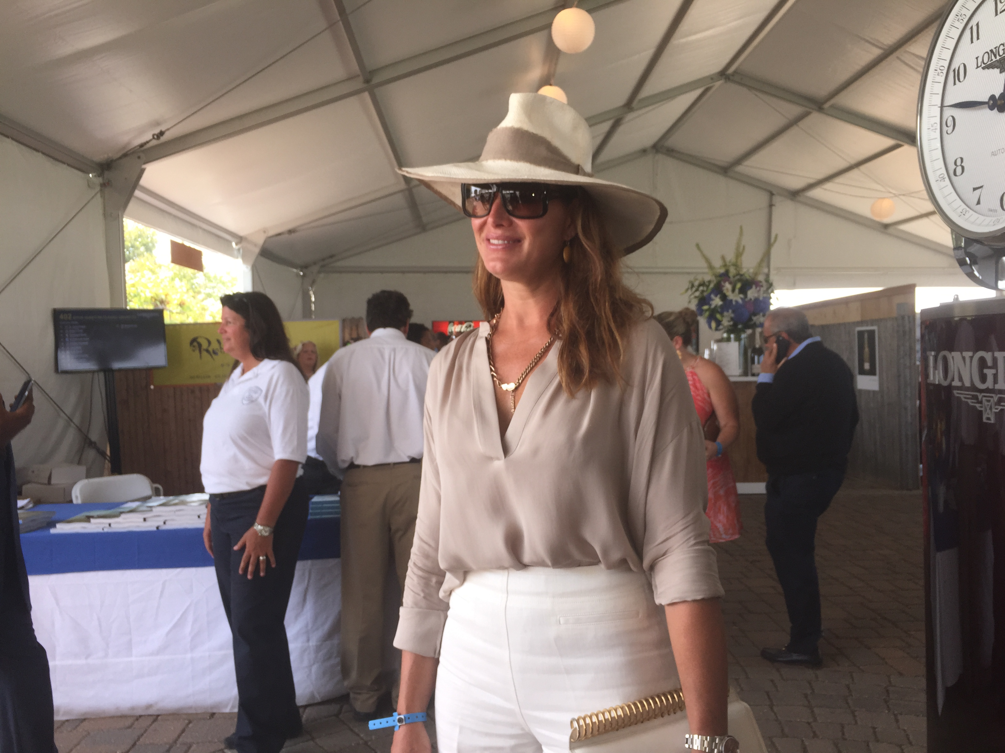 Brooke Shields arrives at Hampton Classic.