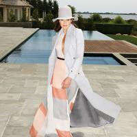 Zimmermann Arcadia teardrop sheath dress in geo, Zimmermann Arcadia Empire coat in grey marle, Clyde felt hat, Sophia Webster suede pumps. image: jean-bernard villareal