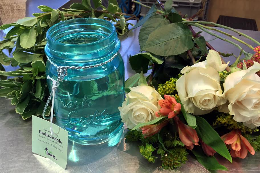image: What you need for a mason jar bouquet credit: 1-800-flowers