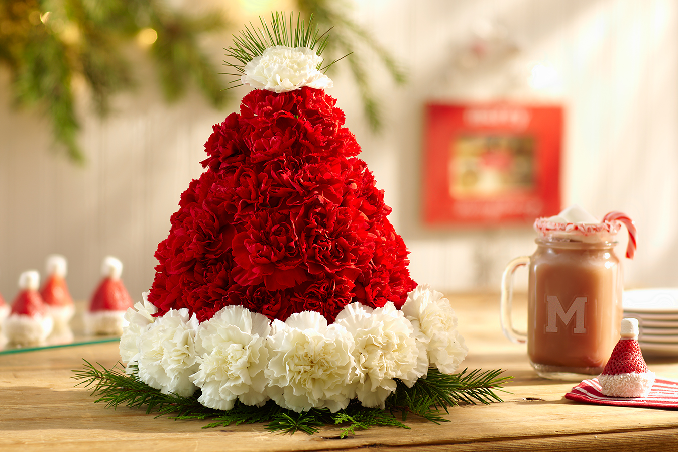 santa hat floral arrangement