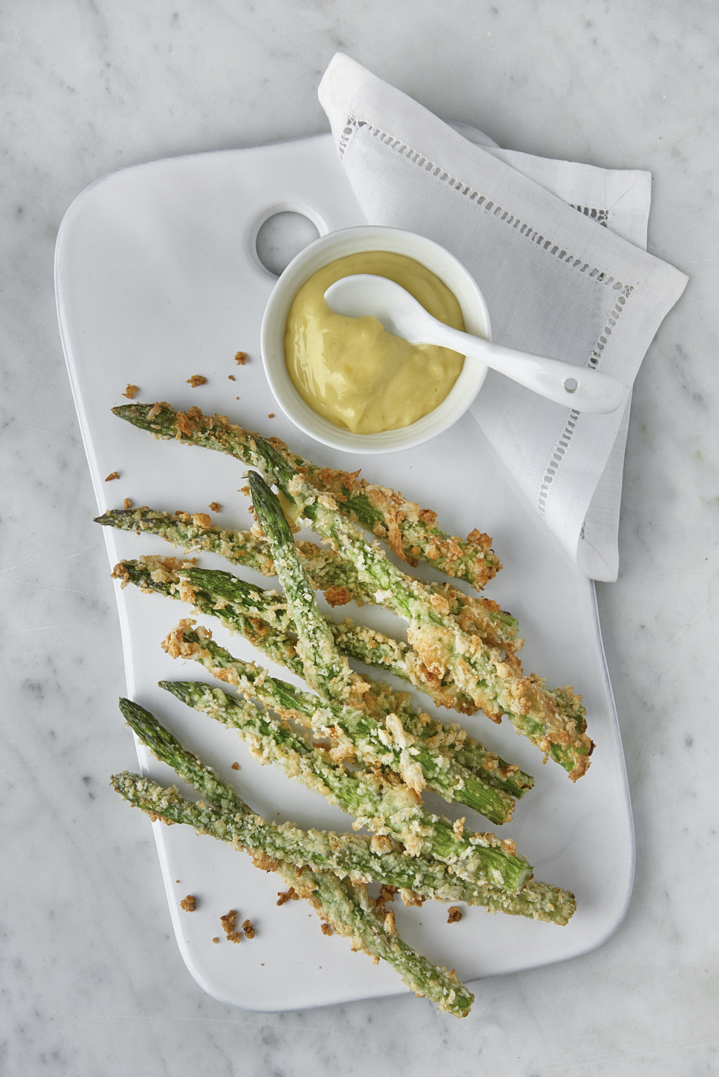 Chef Clodagh McKenna's Crispy Skellig Sweet Cheddar and Parmesan Asparagus Spears With Lemon Aioli Dip credit: clodagh mckenna