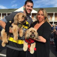 The bad guys don't stand a chance with this family: Drew (human batman), Sarah (human superwoman), Scruffy (dog batman/Shih Tzu and Yorkie mix) and LG (dog Spiderman/Lhasalier).
