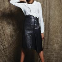 3.1 Phillip Lim silk top and lambskin asymmetrical skirt