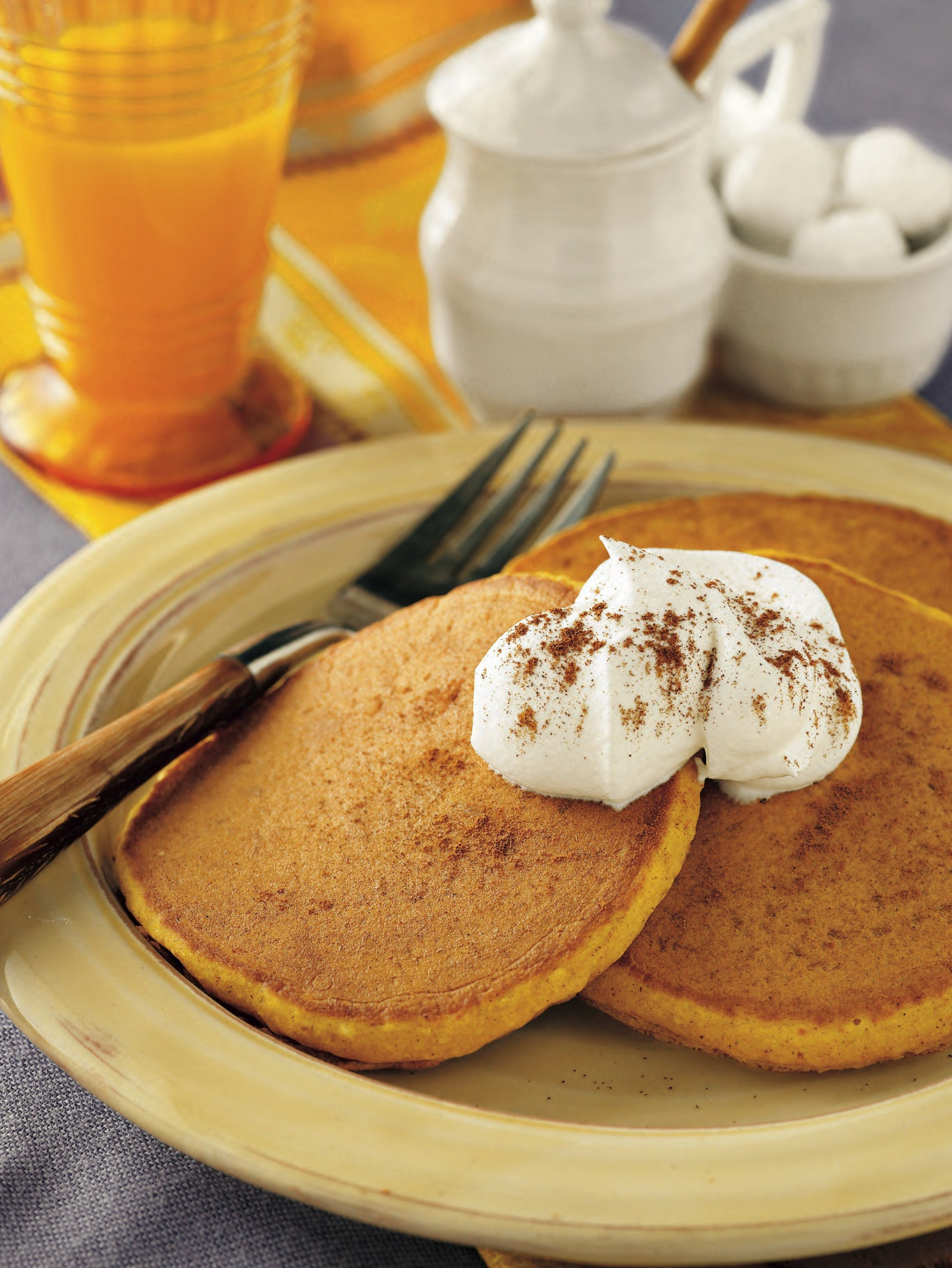 Buttermilk pancakes with brown sugar, cinnamon and of course pumpkin credit: krusteaz