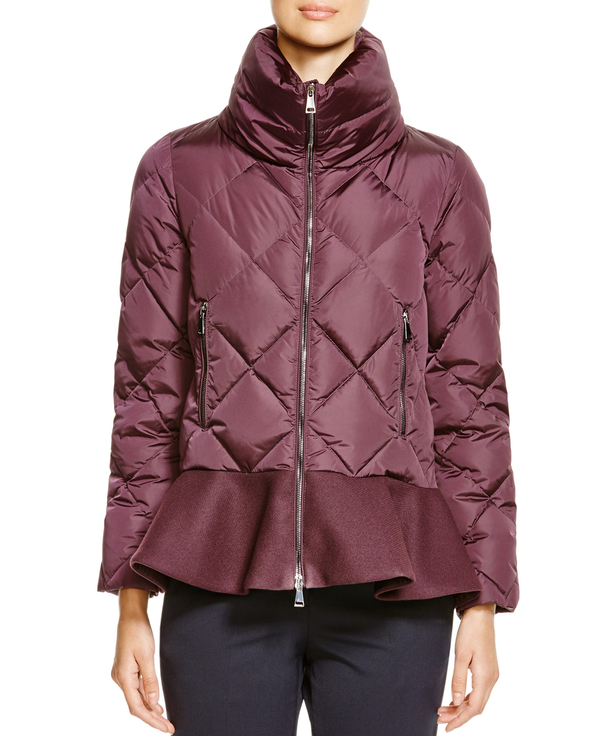 image: moncler vouglette peplum coat, available exclusively at bloomingdale's and bloomingdales.com