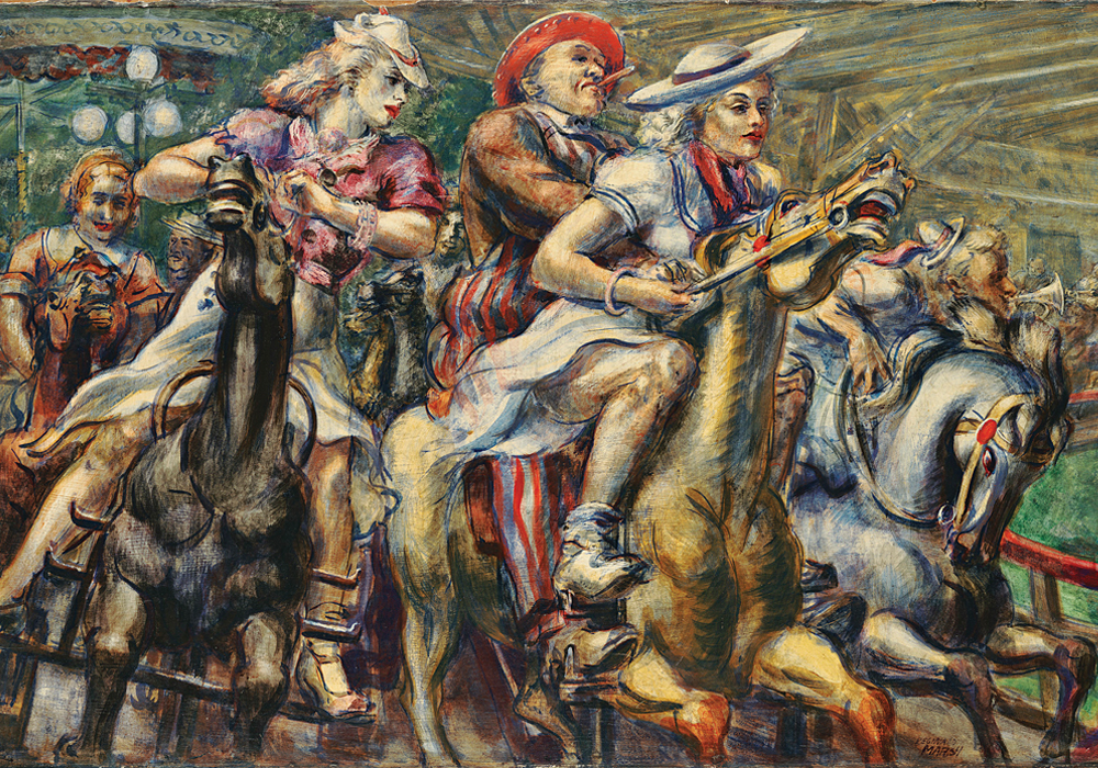 "Reginald Marsh (American, 1898-1954). ""Wooden Horses,"" 1936. Tempera on board, 24 x 40 in."