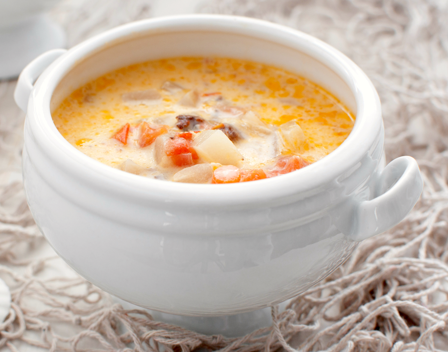 Salmon Chowder With Sweet Potatoes and Corn