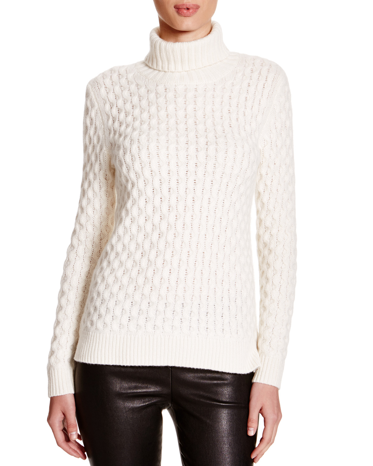 C by Bloomingdale's Cable Knit Turtleneck Sweater image: bloomingdale's and bloomingdales.com