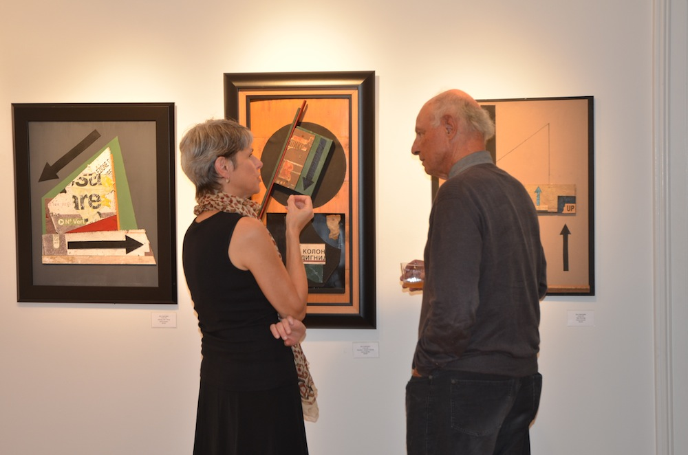 Artists Elizabeth Malunowicz and Jim Gemake discuss Gemake's work at the 2014 Winners' Show. image: image: natalia clarke