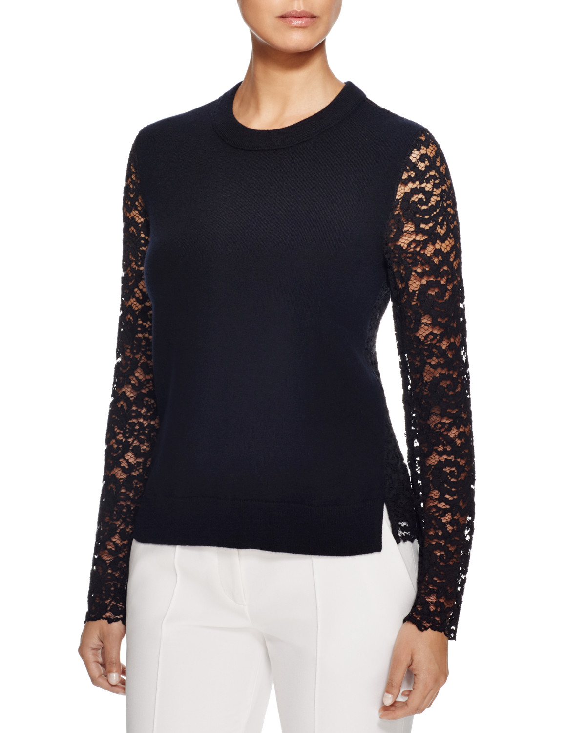 Tory Burch mixed media sweater image: bloomingdale's and bloomingdales.com