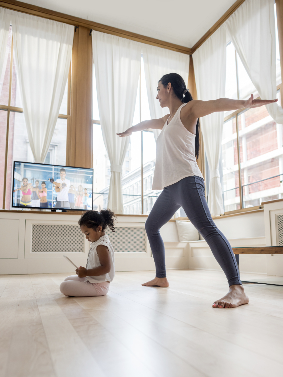 Think about where you want your TV and keep the floor open for mat work image: andresr