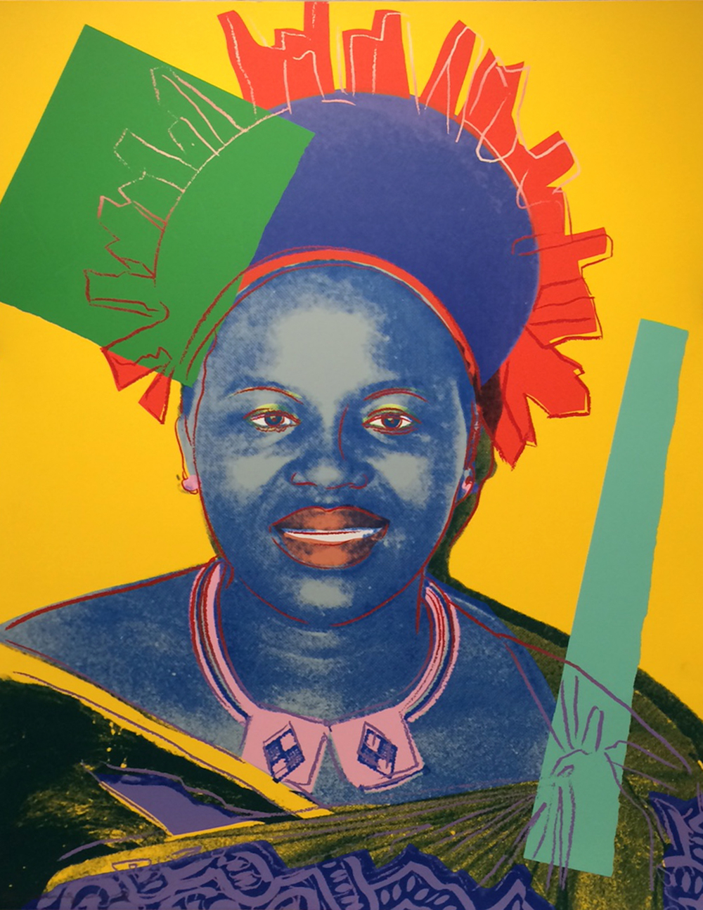 Andy Warhol (American, 1928-1987) Queen Ntombi Twala of Swaziland (Reigning Queens Royal Edition), 1985 Screenprint and diamond dust on Lenox Museum Board Extra, out of edition. Designated for research and education purposes only. 39 3/8 x 31 1/2 in. Gift of The Andy Warhol Foundation for the Visual Arts, Inc., HU2014.11 © The Andy Warhol Foundation for the Visual Arts, Inc.