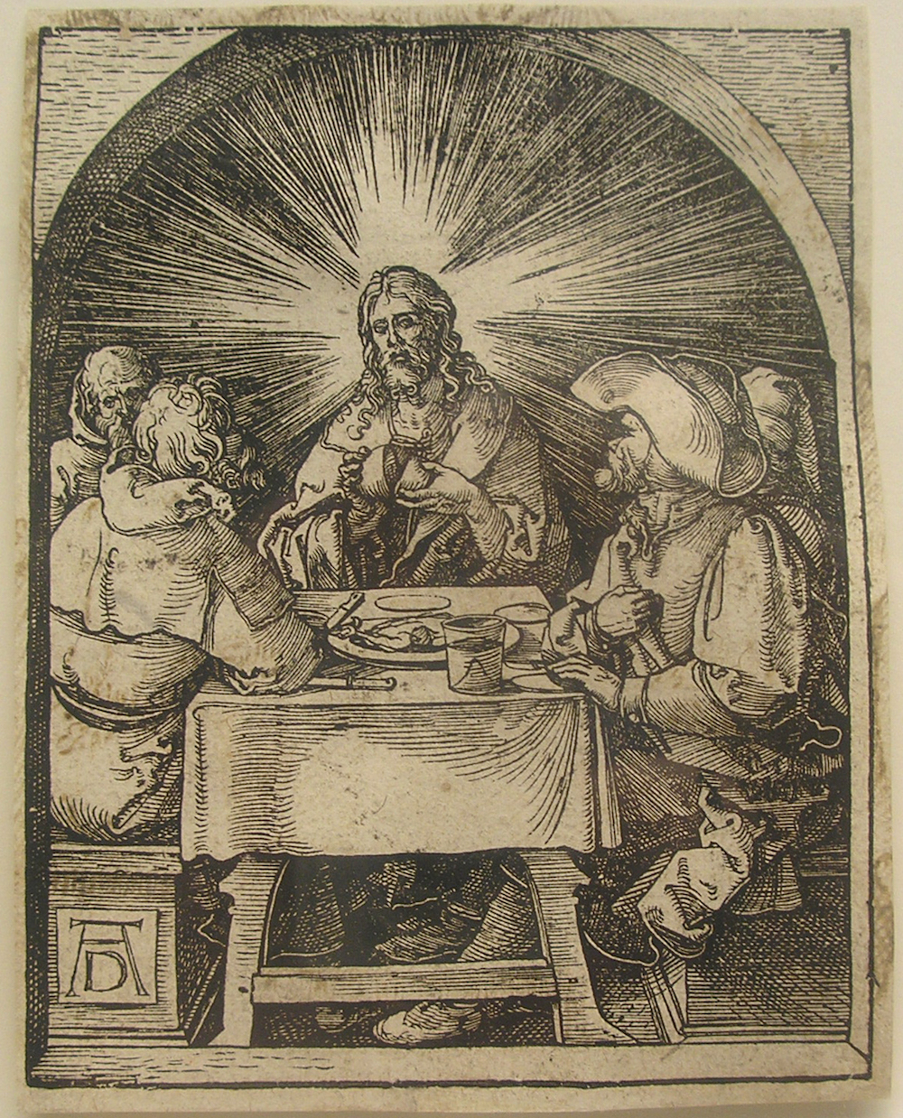 Albrecht Dürer (German, 1471-1528) Christ and the Disciples at Emmaus from The Small Passion, 1510, this impression late 16th/early 17th century Woodcut 5 1/8 x 4 in. Hofstra University Museum Collections, Gift of Robert Vogt, HU95.37