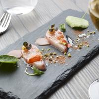 Hamachi Crudo with citrus, pistachio, ginger & controne chili .image: bill milne
