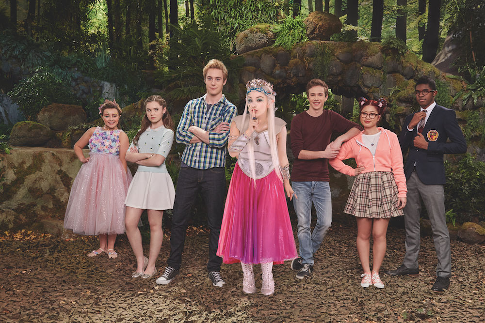 ASTRAL (ESTHER ZYSKIND), MORGAN (CELINA MARTIN), DEVON (TAYLOR ADAMS), TRISTAN (CALLAN POTTER), HAILEY (JOSETTE HALPERT), BRENDONI (ADAM PEDDLE), WINSTON (CJ BYRD VASSELL) in FAIRYLAND SEASON 1 on Nickelodeon. Photo: MICHAEL WILLIAMS/Nickelodeon. © 2015 Viacom International, Inc. All Rights Reserved. Vanities: SHEILA FITZPATRICK – Costume Designer, PACIFICA SANTARCANGELO - Asst. Costume Designer, SID ARMOUR – Key Makeup Artist, QUINN MATHEWS – Asst Makeup Artist, TARA COLLEDGE – Key Hair, PANDORA COLLEDGE – Asst. Hair, ALECIA EBBELS - Prod. Wardrobe Stylist, MELISSA SHOULDICE - Asst. Wardrobe Stylis