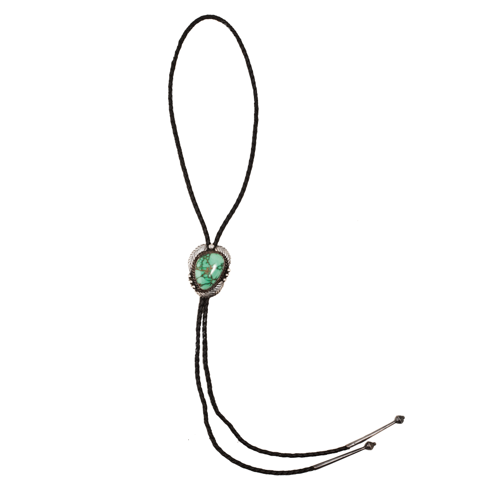 Love Adorned Vintage Navajo Sterling Silver and Turquoise Leather Bolo Tie available at www.loveadorned.com.