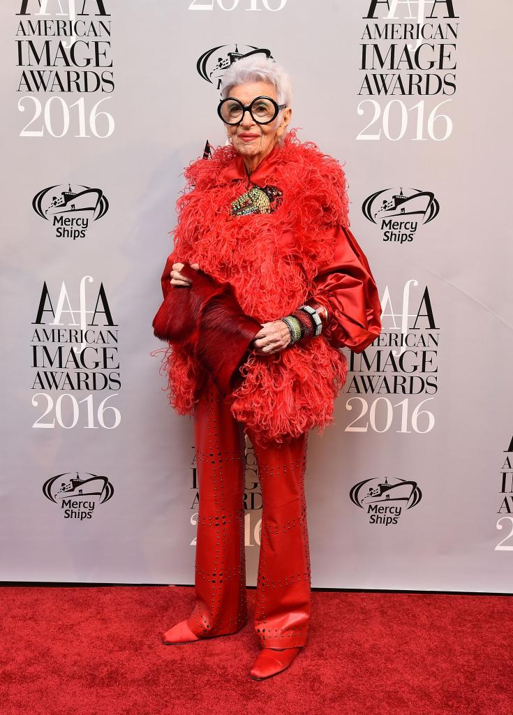 """NEW YORK, NY - MAY 24: Iris Apfel attends the American Apparel & Footwear Association's 38th Annual American Image Awards 2016 on May 24, 2016 in New York City. (Photo by Ilya S. Savenok/Getty Images for American Apparel & Footwear Association (AAFA))"""