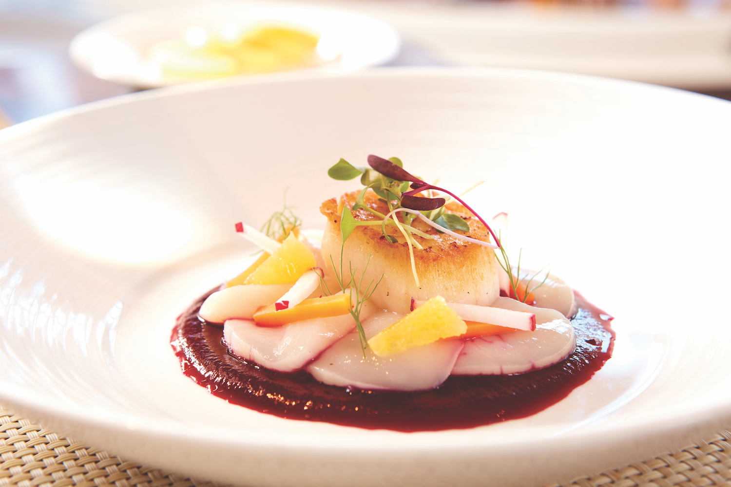 Pear roasted scallops are a must-try at View