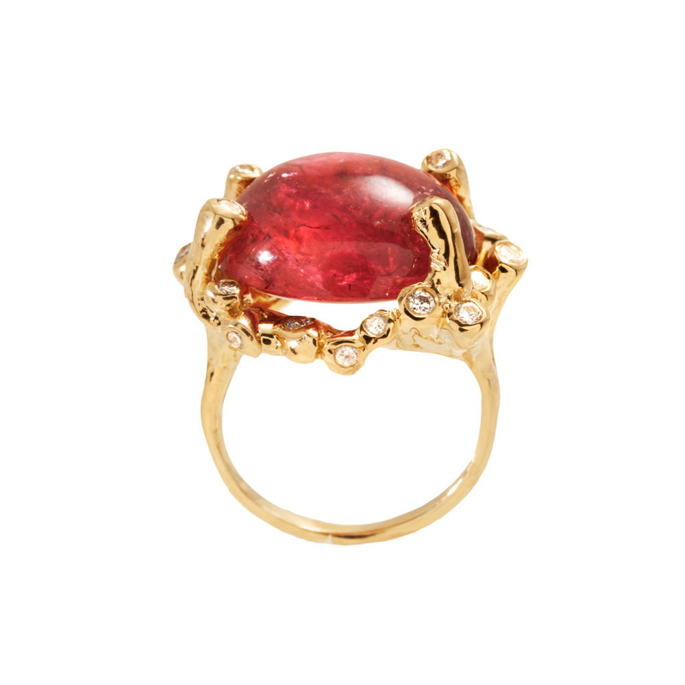 Kimberlin Brown Yellow Gold, Diamond and Rubellite Tourmaline Cocktail Ring in 18k yellow gold; $5,600 at www.loveadorned.com or Love Adorned Amagansett