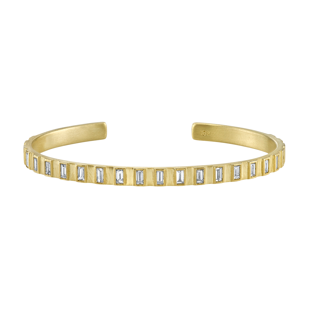 Sittu Yellow gold and Diamond Cuff Bracelet in 18k yellow gold; $8,800 available at www.loveadorned.com or Love Adorned Amagansett