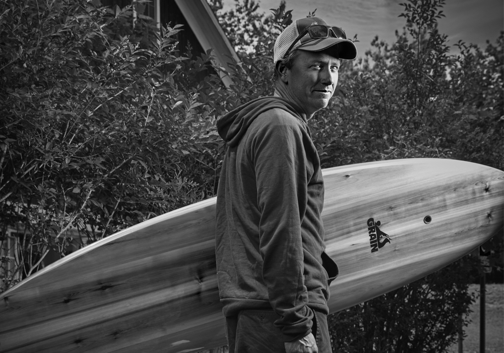 Co-owner Brian Schopfer builds boards through passion and craftsmanship at Grain Surfboards in Amagansett.