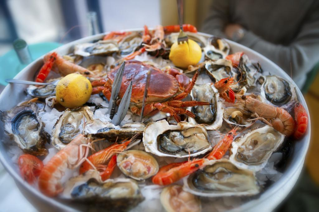 Fresh, Raw and Cooked Seafood Platter, Cannes, France