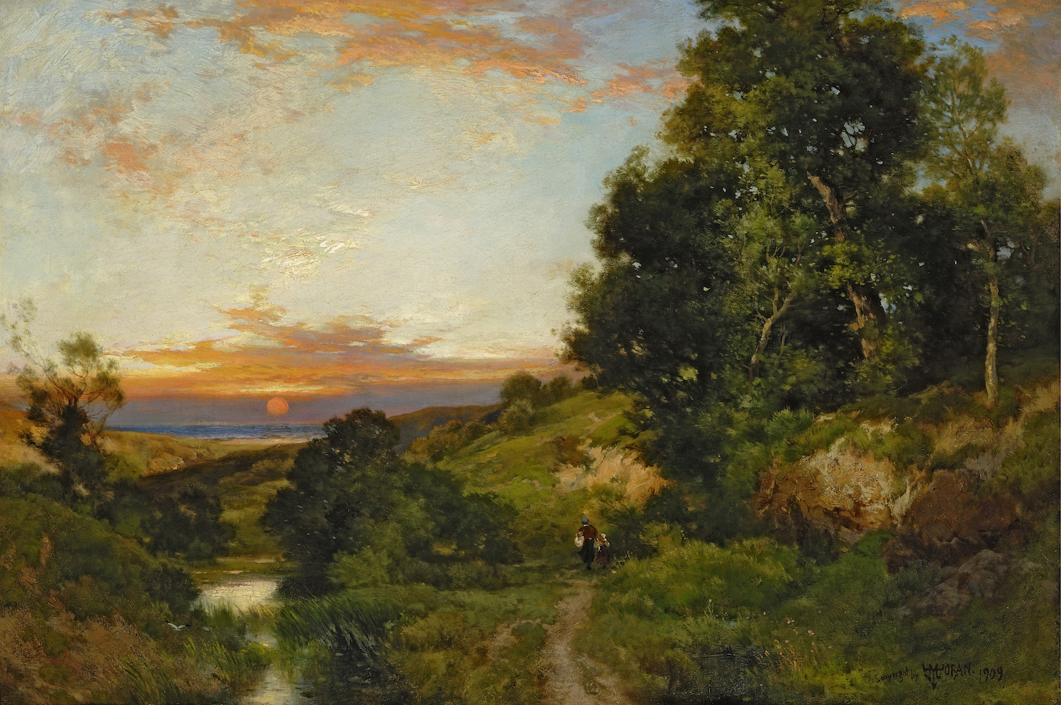 Thomas Moran (1837-1926), Glimpse of the Sea, Near Amagansett, L.I., 1909 (A Late Summer Afternoon) Oil on canvas 20 1/8 x 30 1/8 image: gary mamay, courtesy of guild hall museum
