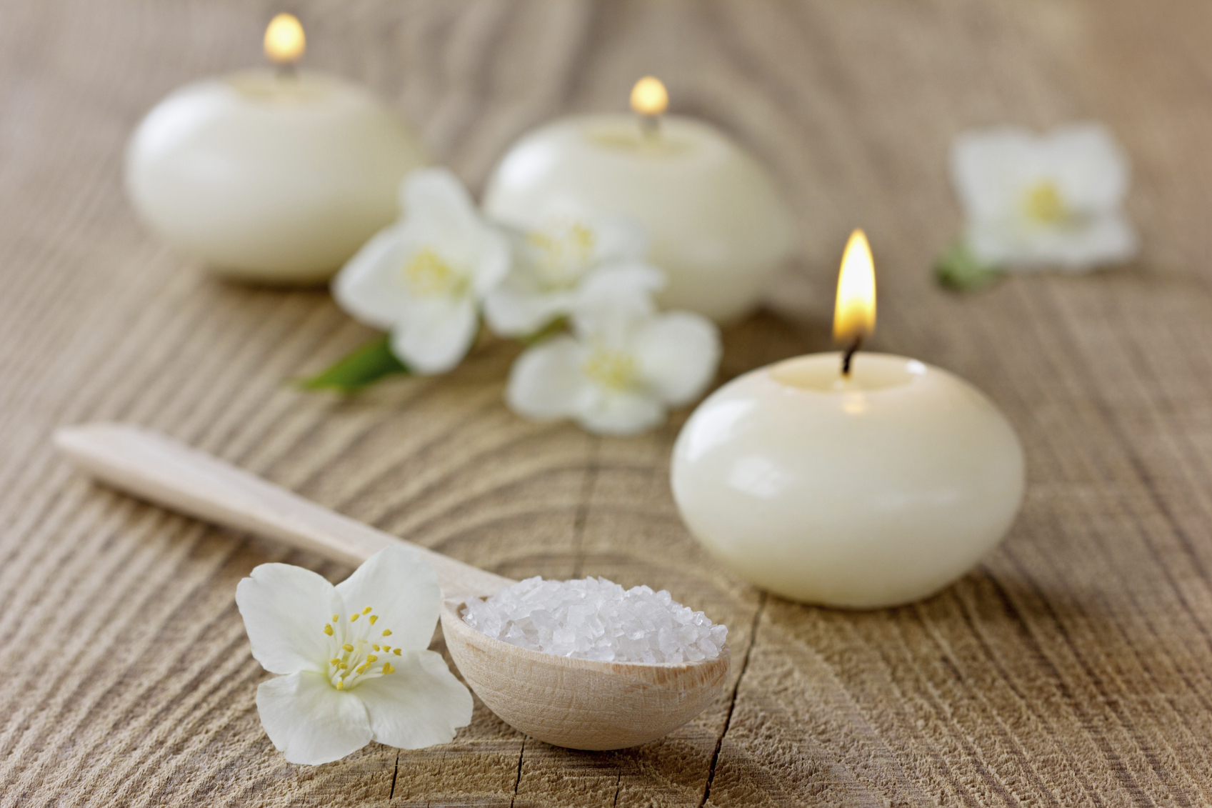Spa composition on a rustic surface, aromatherapy concept