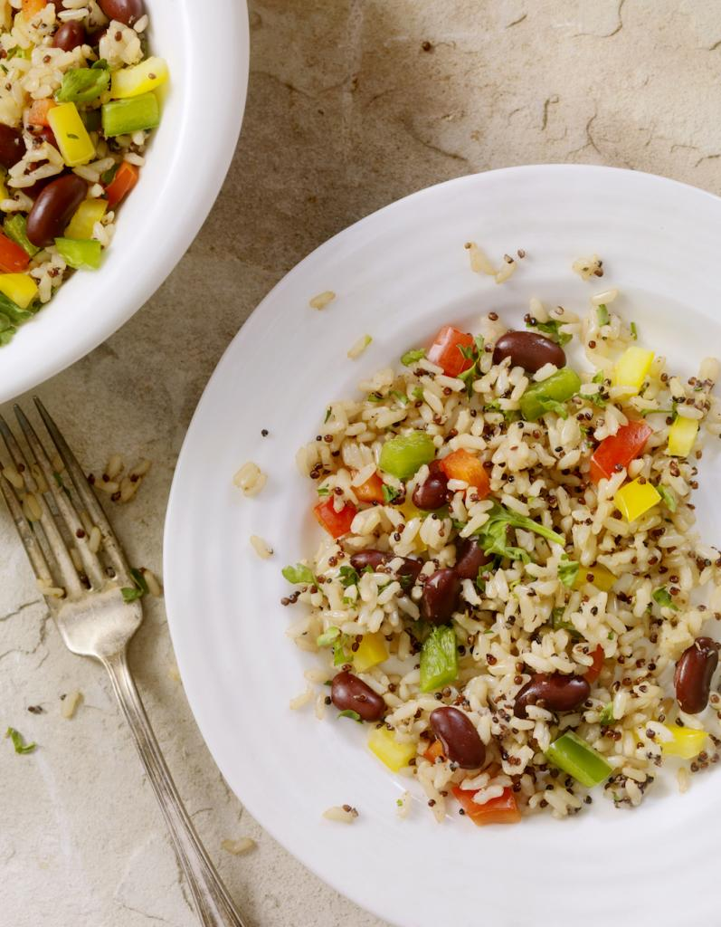 Quinoa and Brown Rice Salad with Peppers and Beans-Photographed on Hasselblad H3D2-39mb Camera