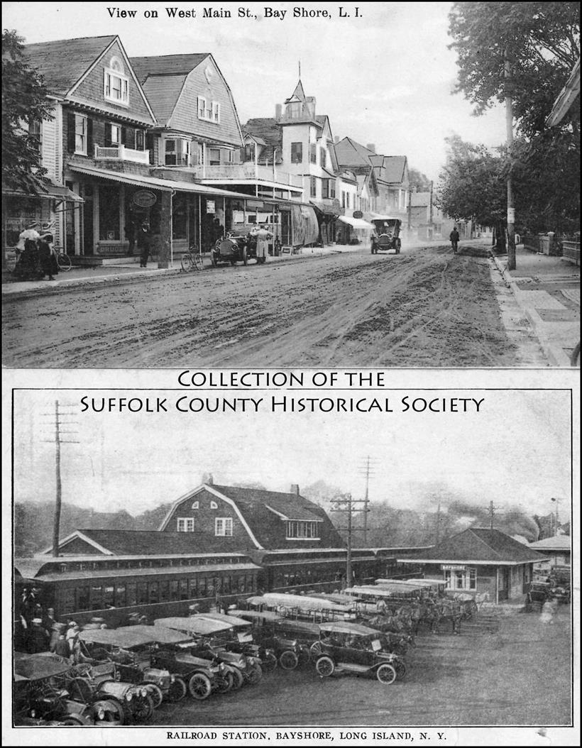 Bay Shore Postcards: West Main Street and LIRR Station. (Images from the Collection of the Suffolk County Historical Society Library Archives. Copyright © Suffolk County Historical Society. All rights reserved.)