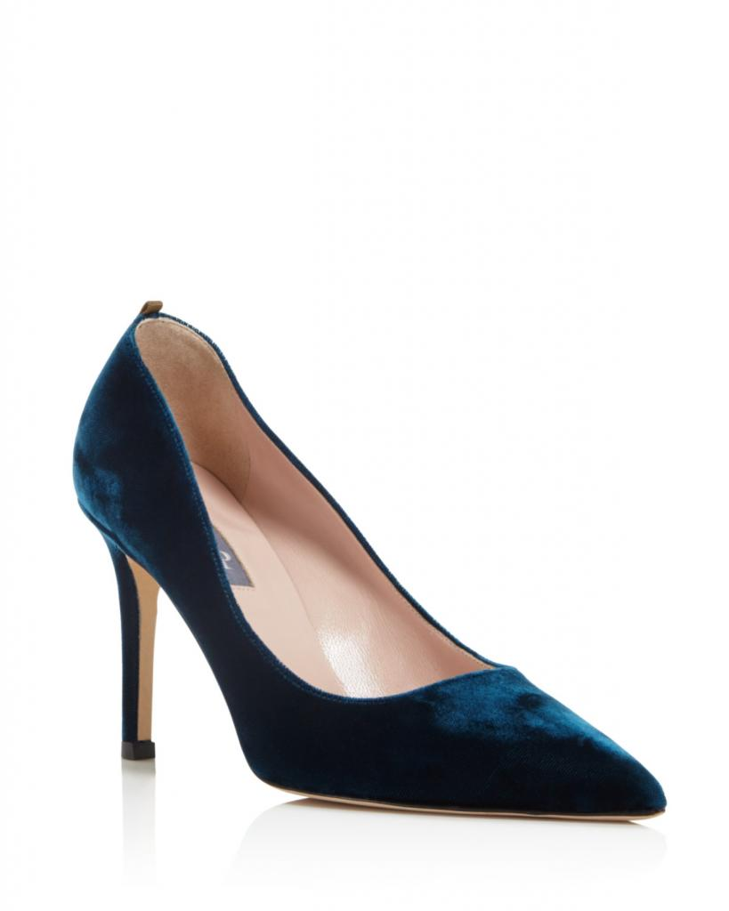 SJP by Sarah Jessica Parker Fawn Velvet Pointed Toe High Heel Pumps image: bloomingdales and bloomingdales.com