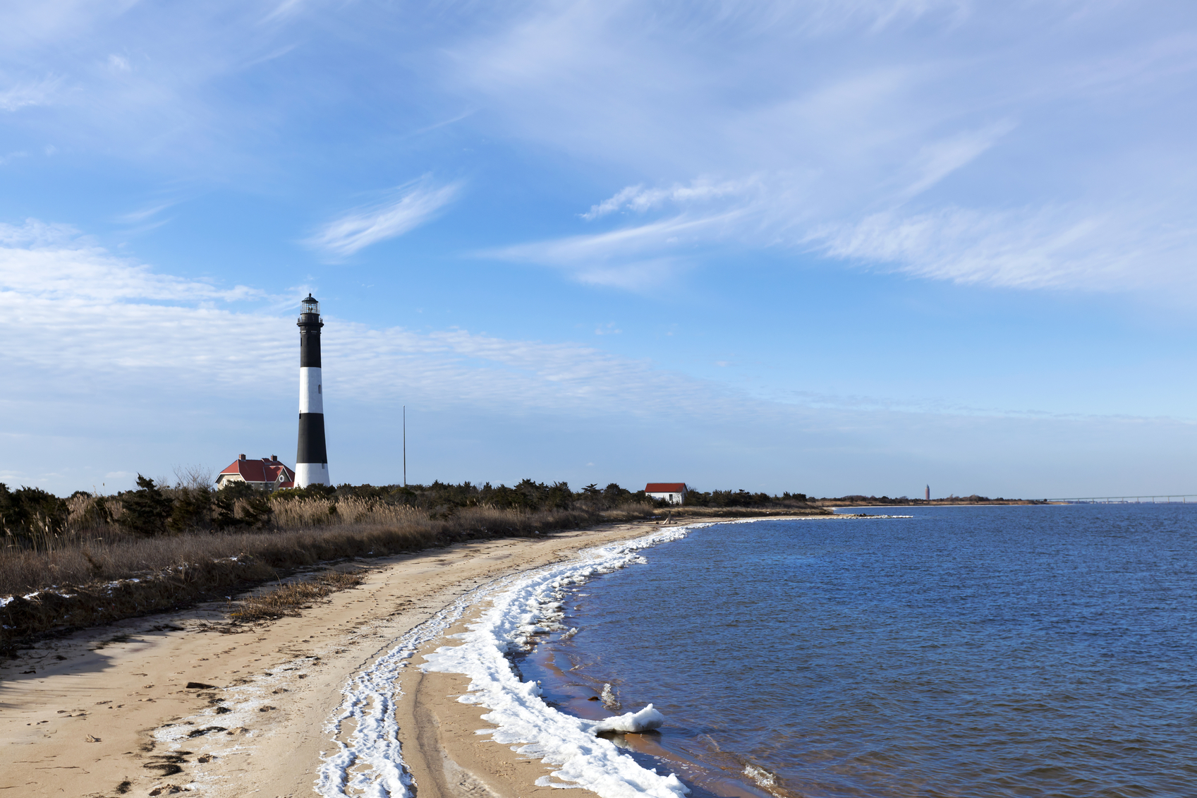 Fire Island Lighthouse from the Great South Bay side. In the winter
